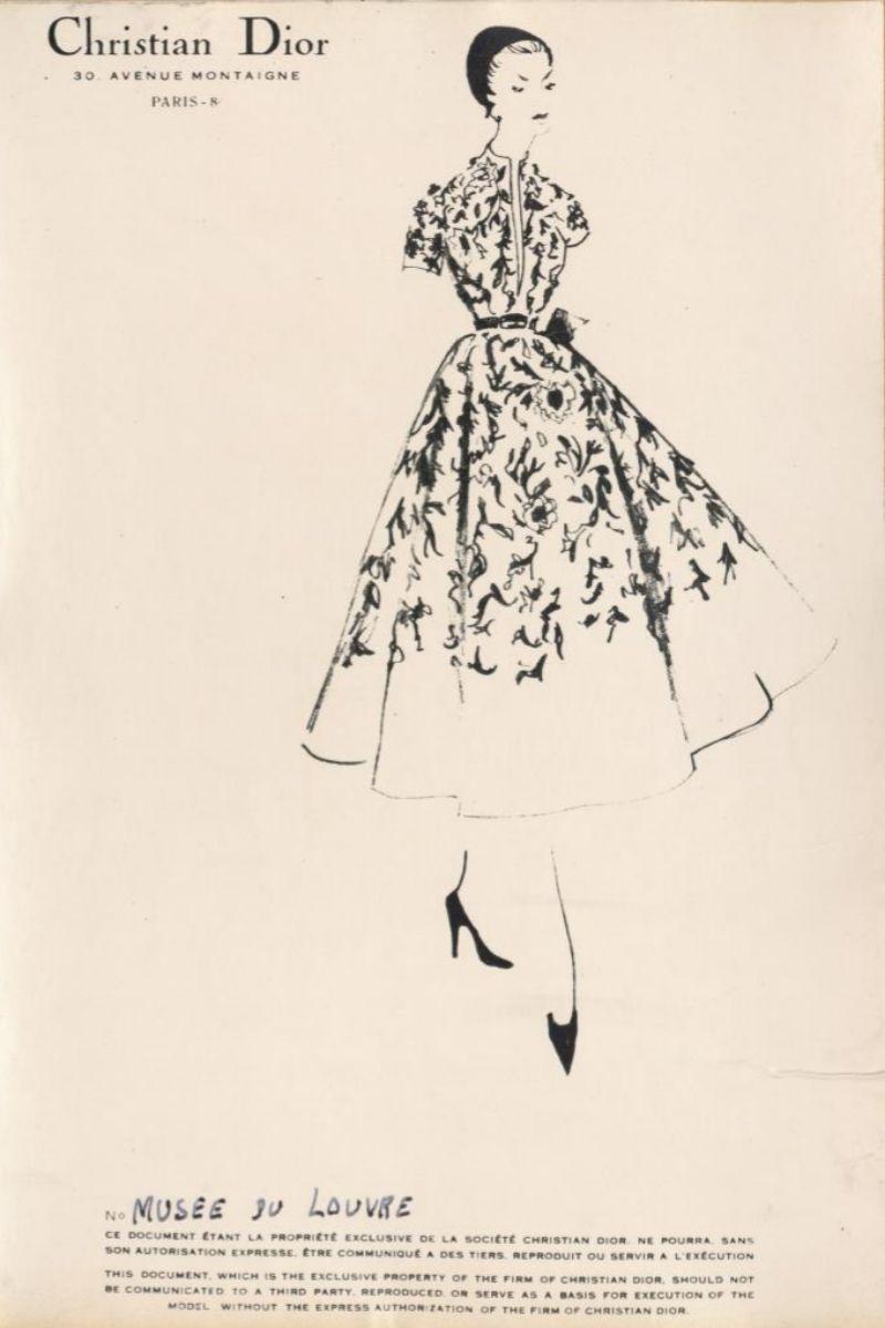 Boceto de Dior de la exposición 'De arte y moda'.