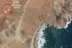 Ortofoto que muestra la posición del Cortijo Chiqueras en relación a la playa de los Genoveses.