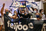 Simpatizantes de Alberto Núñez Feijóo festejan su cuarta mayoría absoluta.