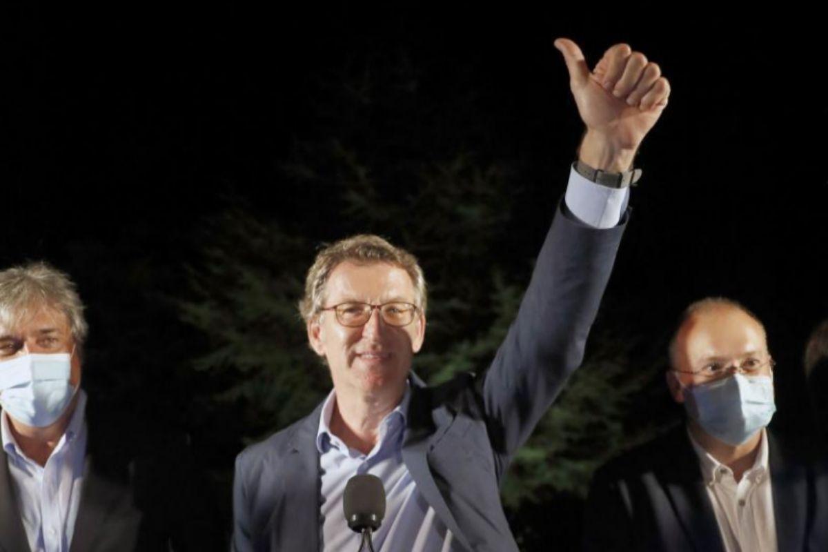 El presidente electo de la Xunta, durante su comparecencia.