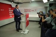 José Luis Ábalos, secretario de Organización del PSOE, durante su comparecencia el domingo en Ferraz.