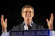 Alberto Núñez Feijóo, en la noche electoral del domingo.