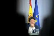 El vicepresidente del Gobierno, Pablo Iglesias, en un Consejo de Ministros.