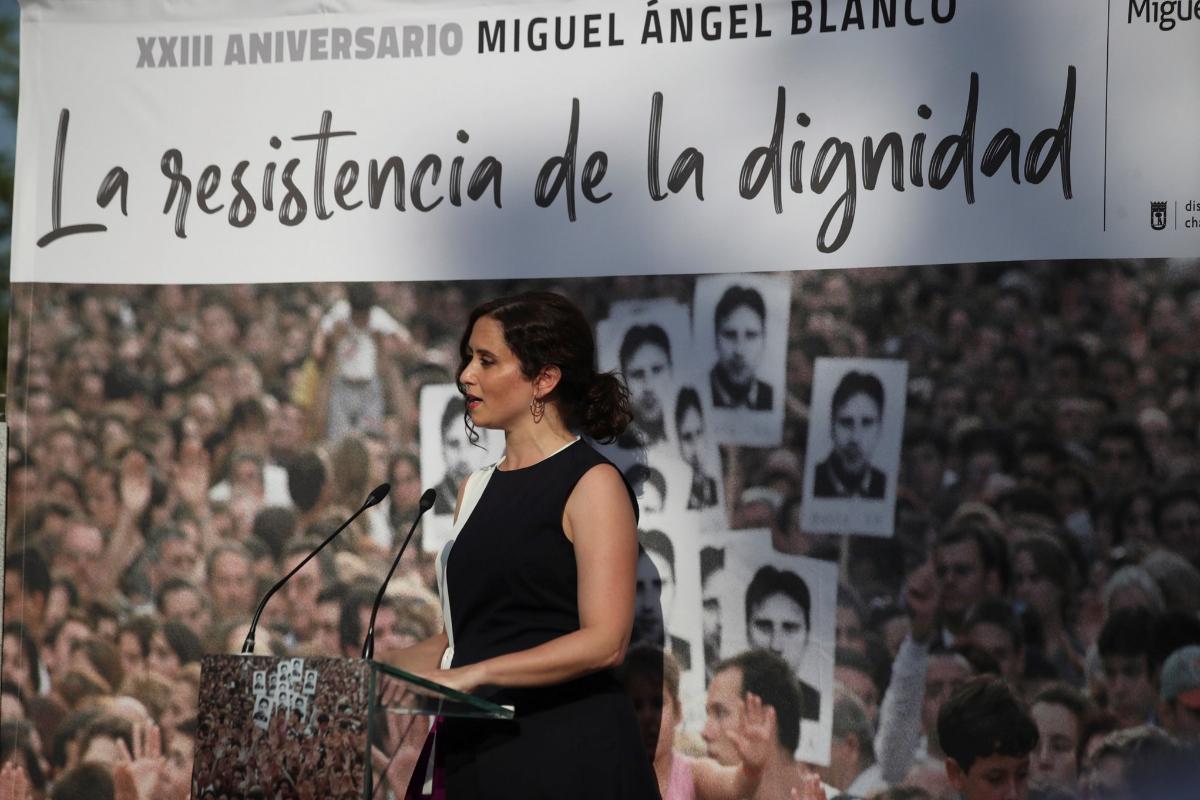 """Isabel Díaz Ayuso: """"Por dejar de matar, los verdugos han conseguido lo que antes alcanzaban matando"""""""