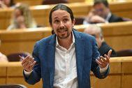 El vicepresidente segundo del Gobierno y líder de Unidas Podemos, Pablo Iglesias, este martes en el Senado.