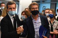 Pablo Casado y Alberto Núñez Feijóo, este miércoles en la sede del PP en Madrid.
