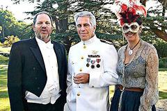 Ghislaine Maxwell junto a los depredadores Weinstein y Epstein.
