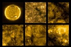 Mosaico con imágenes tomadas por la nave Solar Orbita a 77 millones de km. de distancia