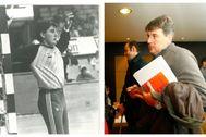 Claudio Gómez, como jugador y en una fotografía reciente.
