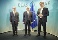 EU HR, Josep Borrell, meets Serbian President, Aleksandar Vucic, and the PM of lt;HIT gt;Kosovo lt;/HIT gt;, Avdullah Hoti.