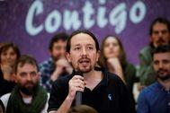 Pablo Iglesias, líder de Podemos, durante un acto del partido a principios de 2020.