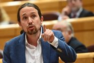 El vicepresidente segundo del Gobierno y líder de Unidas Podemos, Pablo Iglesias, en la sesión de control celebrada en el Senado la pasada semana.