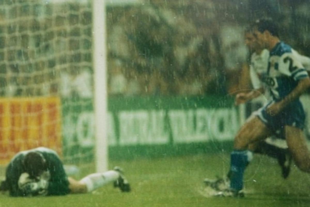 Imagen de la final de Copa de 1995, marcada por una enorme tormenta.