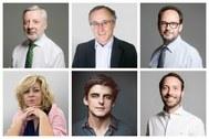De izq. a dcha: José Blanco, Alfonso Alonso, Antonio Hernando, Elena Valenciano, Esteban González y David Álvaro, el equipo directivo de Acento.