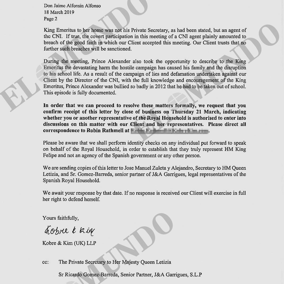 Este escrito fue publicado en una investigación de EL MUNDO, por los periodistas Esteban Urreiztieta y Ángela Martialay.Este escrito fue publicado en una investigación de EL MUNDO, por los periodistas Esteban Urreiztieta y Ángela Martialay.