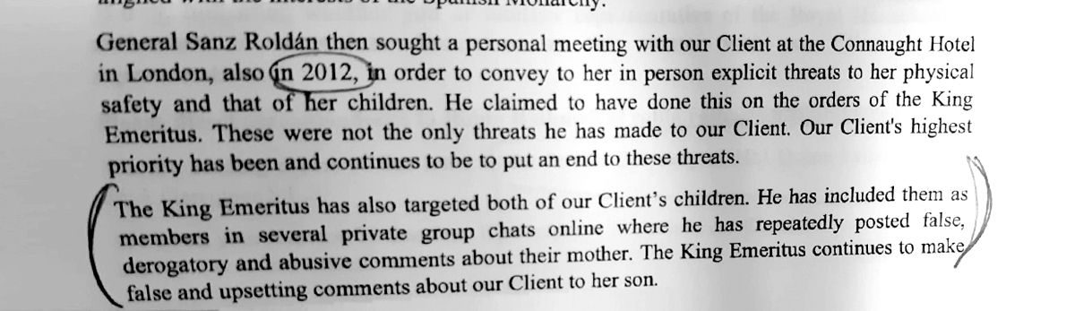 Dos misivas, tres páginas. Esta corresponde al 5 de marzo de 2019... La propia Corinna -con sus abogados y su equipo de comunicación- profundiza en ellas para 'Crónica'. Siempre según sus palabras.