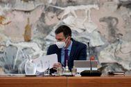 Pedro Sánchez, en el Consejo de Ministros celebrado este martes en Madrid.