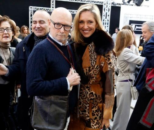 Carlos con su compañera Marta Robles en Mercedes-Benz Fashion Week Madrid