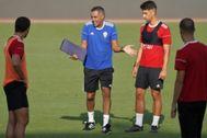 La UD Almería, durante su entrenamiento del martes.