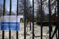 El Parque del Retiro cerrado por la caída de un árbol, en una imagen de archivo.