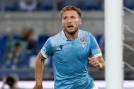 Rome (Italy).- Lazio's Ciro lt;HIT gt;Immobile lt;/HIT gt; celebrates scoring the 2-0 goal during Italian Serie A soccer match between SS Lazio and Brescia Calcio at Olimpico Stadium in Rome,29 July 2020. (Italia, Roma) EPA/