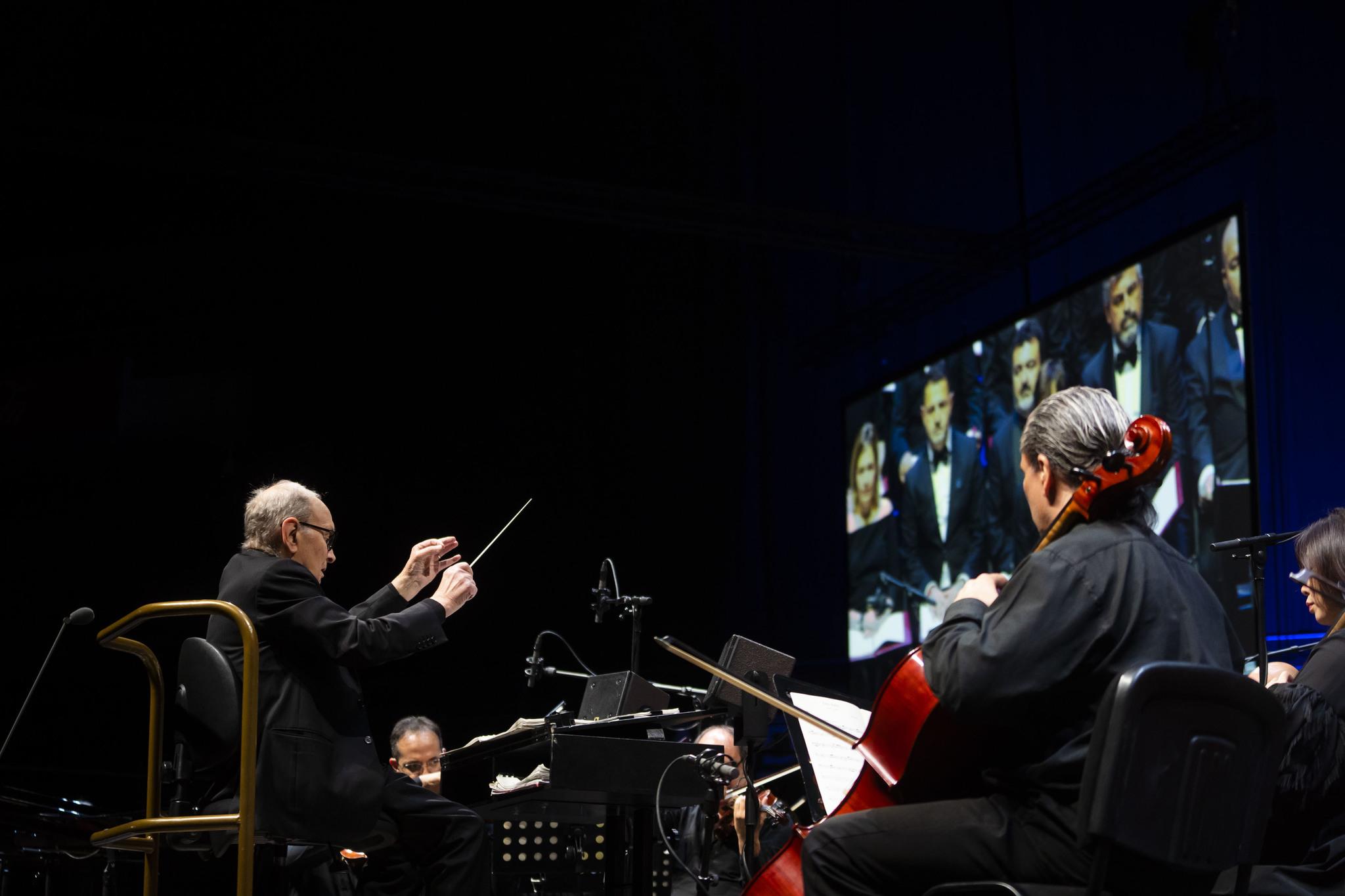 Ennio Morricone durante una presentación en Madrid.