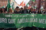 Teresa Rodríguez y Toni Valero, en una de sus últimas apariciones juntos con motivo de una manifestación el 28F.
