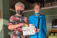 Pedro Almodóvar y Tilda Swinton durante el rodaje de La voz humana