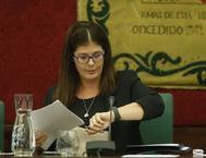 Noelia Posse, en el Pleno del Ayuntamiento de Móstoles donde fue reprobada.