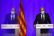 GRAF8786. BARCELONA.- El presidente de la Generalitat, Quim lt;HIT gt;Torra lt;/HIT gt;, comparece en rueda de prensa tras la reunión semanal del Govern, la última antes del parón veraniego, en medio de la incertidumbre por la evolución de la Covid-19 en Cataluña.-