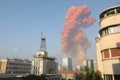Imagen de la explosión en el puerto de Beirut.
