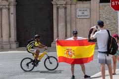 Una persona posa ante la puerta del Palacio de Marivent, este martes, en Palma de Mallorca.