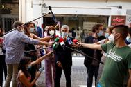 El ministro del Interior, Fernando Grande-Marlaska, hace declaraciones a los periodistas, en una de sus últimas apariciones públicas.