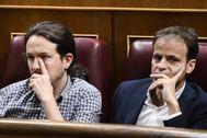 Pablo Iglesias y Jaume Asens, durante un pleno en el Congreso en julio de 2019.