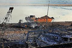 Los restos tras la explosión en el puerto de Beirut.