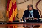 BARCELONA.- El presidente de la Generalitat, Quim lt;HIT gt;Torra lt;/HIT gt;, durante la reunión semanal del Govern, la última antes del parón veraniego, en medio de la incertidumbre por la evolución de la COVID-19 en Cataluña, que condiciona el calendario electoral.