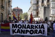 Manifestación contra la Monarquía del pasado miércoles en Vitoria.