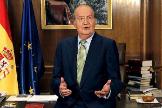 El Rey Juan Carlos, en su despacho de Zarzuela, durante un discurso navideño.