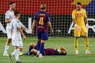 Messi, dolorido, tras el penalti y la patada de Koulibaly.
