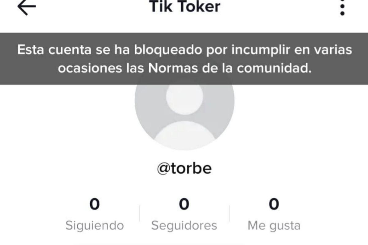 Captura de la cuenta de Torbe, suspendida