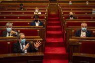 -FOTODELDIA- GRAFCAT509 BARCELONA, 7/8/2020.- El presidente de la Generalitat, Quim Torra, durante el inicio este mediodía del pleno extraordinario del lt;HIT gt;Parlamento lt;/HIT gt; de Cataluña, solicitado por el mismo, para abordar la decisión del rey Juan Carlos de trasladarse fuera de España, sobre la que se posicionarán los diferentes grupos parlamentarios mediante sus propuestas de resolución.