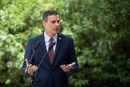 Pedro Sánchez, durante su rueda de prensa de ayer en Mallorca.