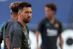 Leo Messi, en el entrenamiento de este jueves en Da Luz.