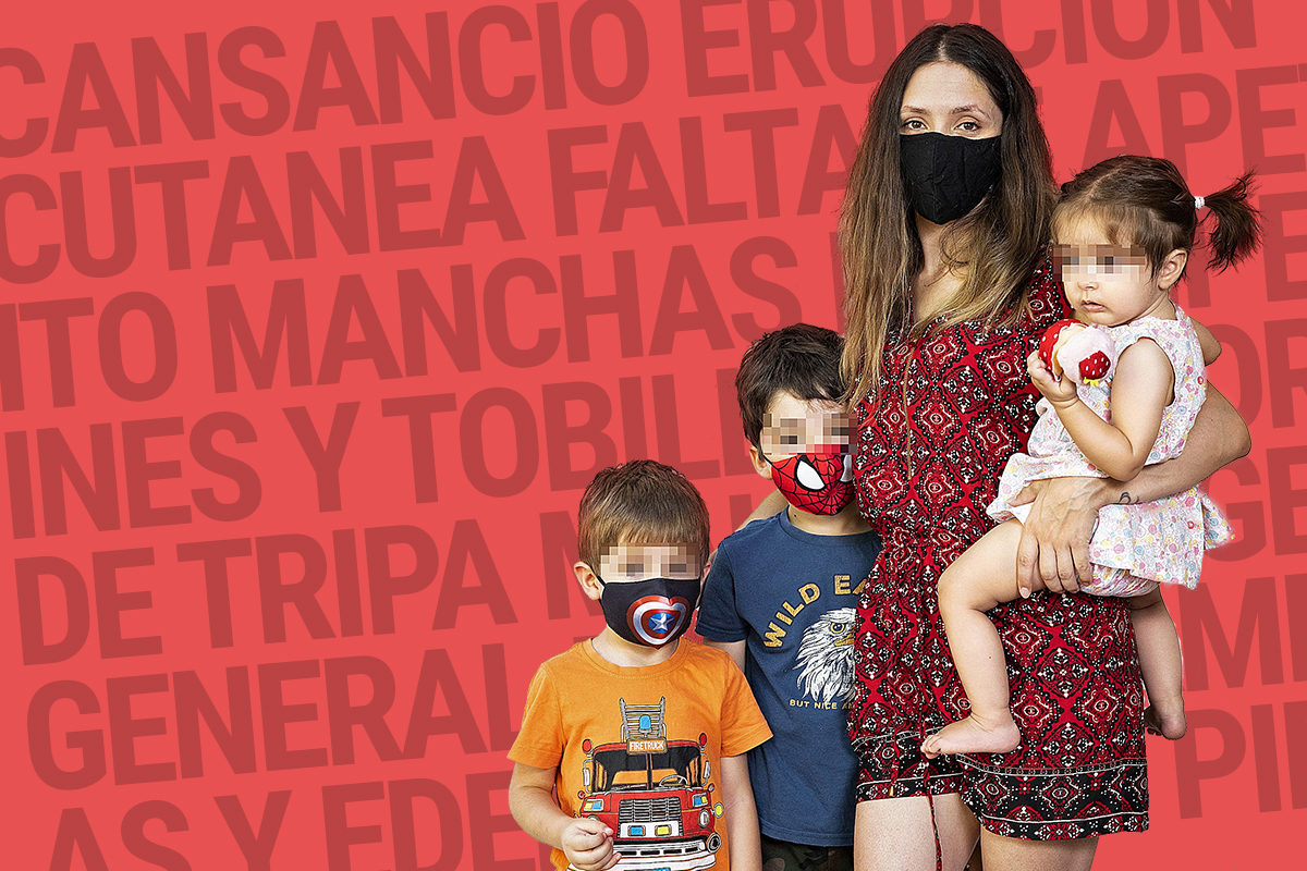 Elizabeth Semper con sus tres hijos de 5, 3 y 1 año de edad.