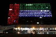 FILE PHOTO: Tel Aviv's municipality building is lit in the United Arab lt;HIT gt;Emirates lt;/HIT gt; national flag after a deal to normalise relations between Israel and the UAEthe countries