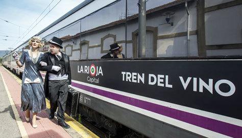 Teatralización en el Tren del Vino de La Rioja.