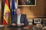 El Rey Juan Carlos, en el momento de anunciar su abdicación en 2014.