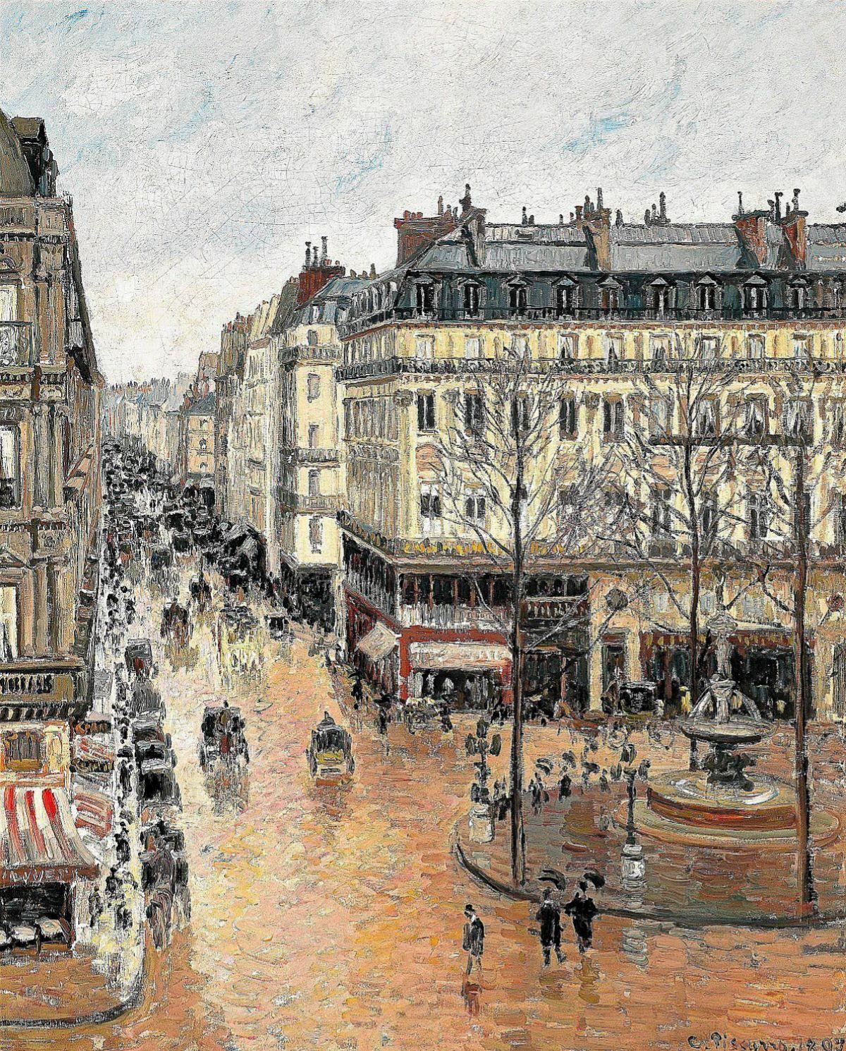 'Rue Saint-Honoré por la tarde. Efecto de lluvia', de Pissarro