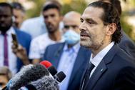 Saad Hariri, hijo de Rafic Hariri, se dirige a la prensa en Leidschendam.