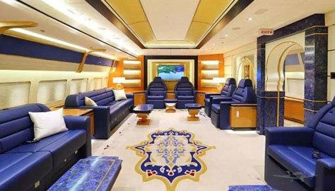 Salón del modelo de Boeing propiedad de los jeques qataríes.